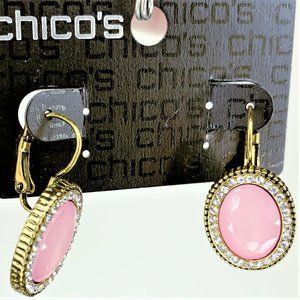 Chicos Pink Faceted Cabochon & Rhinestone Earrings